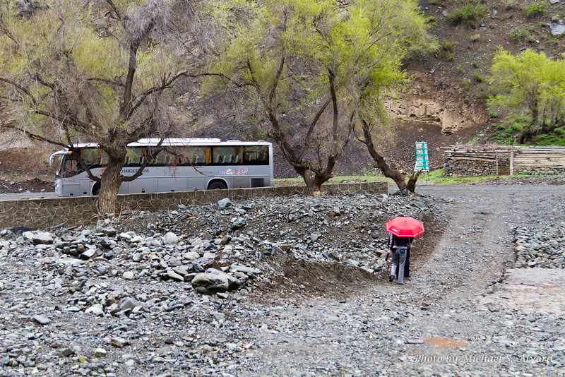 The road was on one side of the small valley, then there was this dried up river bed, and then the house and yurts. And yes, they can have flash floods through here if there is heavy rain or run-off in the mountains.