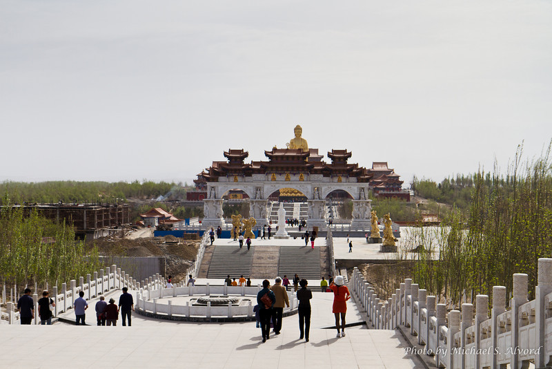 On Sunday April 24th, one of my translators for the class, Miki, took me to see the 'Big Buddha' shrine. It's offical name is 'Hongguang shan Buddhist temple'. This is a huge place that is being built by the Chinese government and when it is complete it will be turned into a working Buddhist temple. This picture is of the walk way to enter enter the temple.