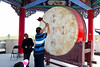On one side of the shrine is the Drum Tower. For a small fee you could strike the drum. Each of the small circles represent one of the buddhist principles. You were to strike each spot and yell out the meaning of the circle for your wish to come true.