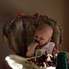 Logan totally enjoying his first birthday party and cake! Hey this grandson is my kinda guy....!