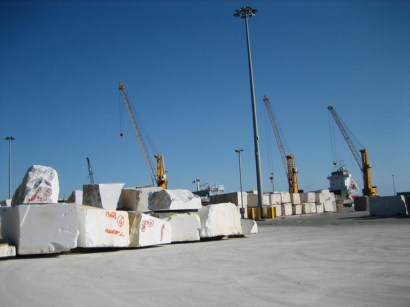 Marble in the harbour being shipped