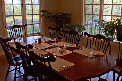 The dining room overlooking the pond.
