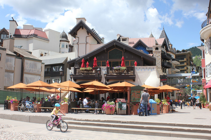 "July 8, 2012 (Vail [Lionshead] / Vail, Eagle County, Colorado) -- ""Tavern on the Square"" [the restaurant where we ate lunch -- everything looks Bavarian]"