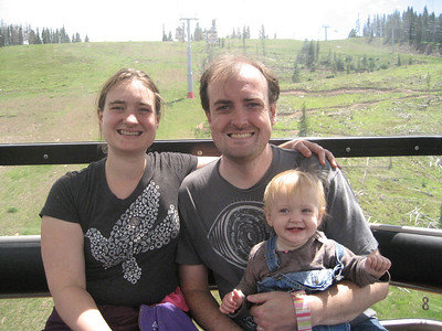 July 8, 2012 (Vail Mountain [inside gondola] / Vail, Eagle County, Colorado) -- Katie, Jon & Ada riding off of Vail Mountain {photo taken by Mary Anne using Katie's camera}