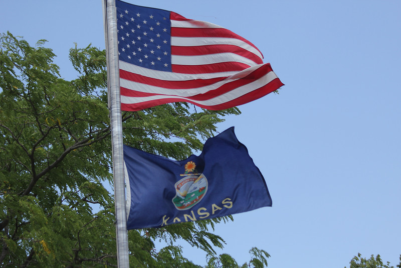 July 6, 2012 (Kansas) -- American & Kansas State flags