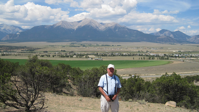 July13, 2012 (Collegiate Peaks Overlook / Buena Vista, Chaffee County, Colorado) -- David in front of Mount Princeton