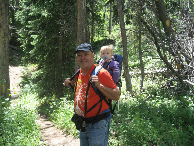 July 8, 2012 (Vail Mountain [from Berry Picker Trail] / Vail, Eagle County, Colorado) -- David & Ada [David takes a turn carrying Ada] {photo taken by Katie}