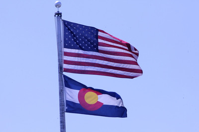 July 7-14, 2012 (Kansas) -- American & Colorado State flags