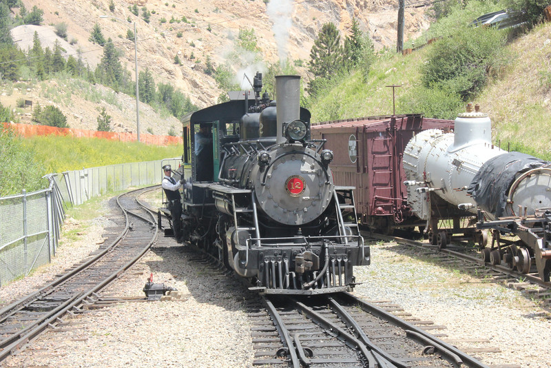 July 10, 2012 (Georgetown Loop Railroad [Silver Plume Station] / Georgetown, Clear Creek County, Colorado) -- Our Steam engine re-coupling to our 1st class car