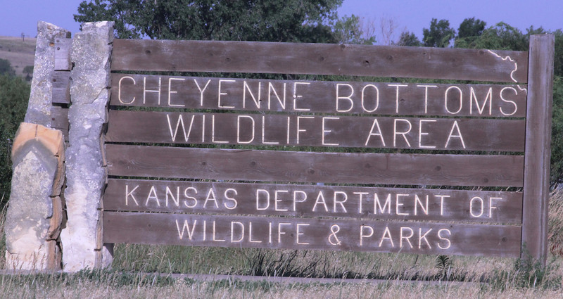 July 7, 2012 (Cheyenne Bottoms Wildlife Area [headquarters] / Great Bend, Barton County, Kansas) -- Entrance signage