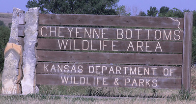 July 7, 2012 (Cheyenne Bottoms Wildlife Area [headquarters] / Great Bend, Barton County, Kansas) -- Entrance signage