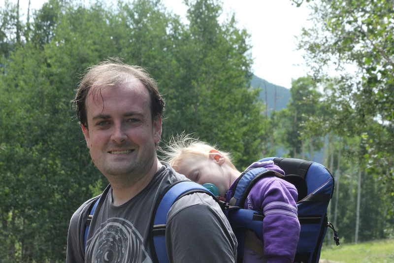 July 8, 2012 (Vail Mountain [Berry Picker Trail] / Vail, Eagle County, Colorado) -- Jonathon & Ada [Ada was able to take a nap - the rest of us were tired enough to want a nap]