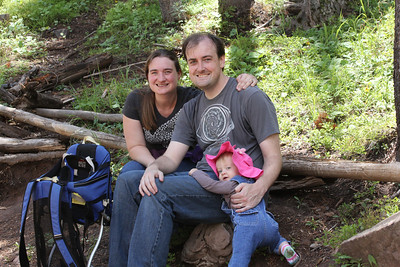 July 8, 2012 (Vail Mountain [from Berry Picker Trail] / Vail, Eagle County, Colorado) -- Katie, Jon & Ada [Just before Jonathon begins carrying Ada again, after turns by Katie and David]