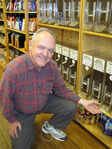 """October 9, 2010 - (""""The Cupboard"""" / Fort Collins, Larimer County, Colorado) -- David in front of the coffee beans that James spilled years ago"""