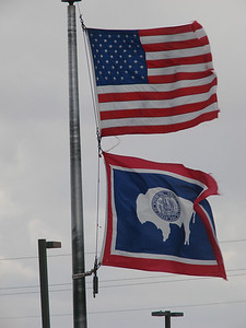 American & Wyoming State Flags