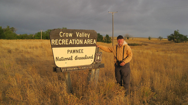 October 10, 2010 - (Pawnee National Grasslands [Crow Valley Campground] / Briggsdale, Weld County, Colorado) -- David at the entrance sign