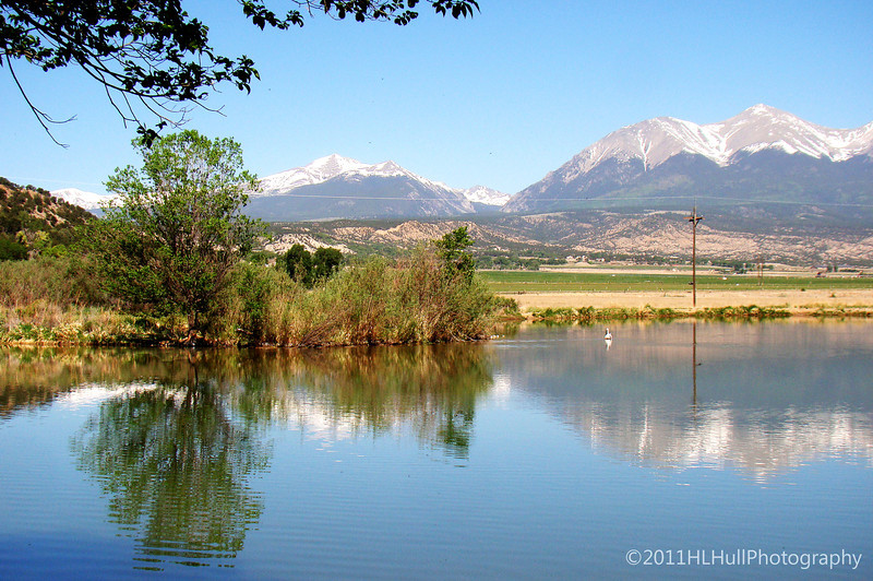 Near Salida, Colorado. An American White Pelican can be seen in the distance...