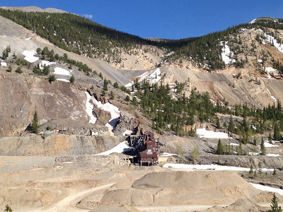 June 5, 2014 - ([From Overlook on] Highway 50 / Monarch, Chaffee County, Colorado) -- Abandoned Mine