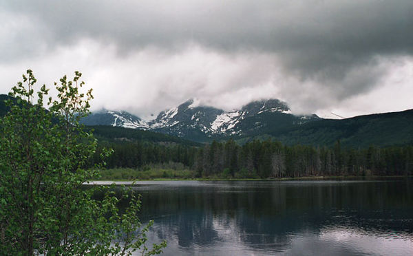 Sprague Lake.<br /> I like the rainy and very cool days like this when the clouds descend onto the mountains.<br /> The only people you are likely to meet on the trail are those who seek solitude...<br /> for it is easily found on days like this.