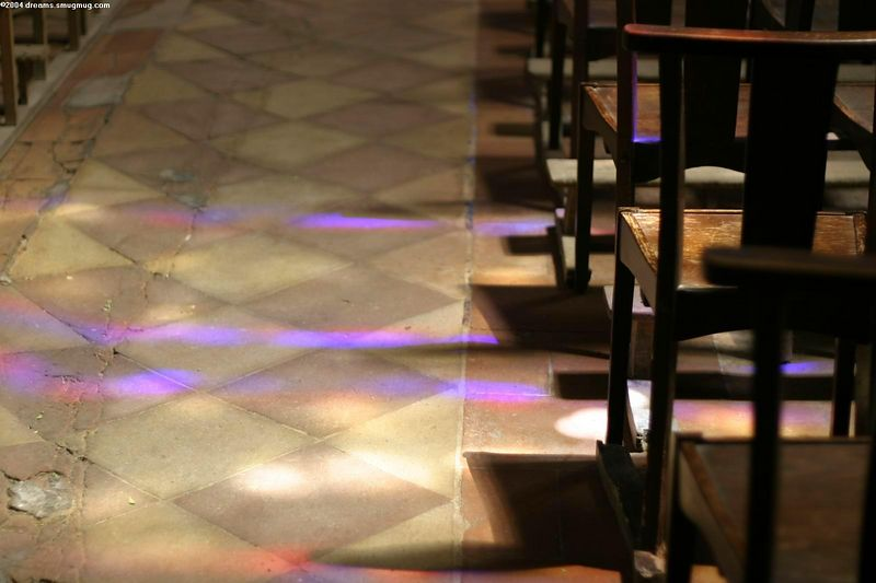 Sunlight through stained glass windows