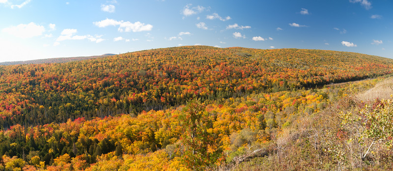 Panorama from the Brockway Mountain Drive.  The tops of the hills are about 700 ft above Lake Superior.