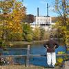 Sue overlooks the old Niagara Mill powerplant still awaiting teardown.