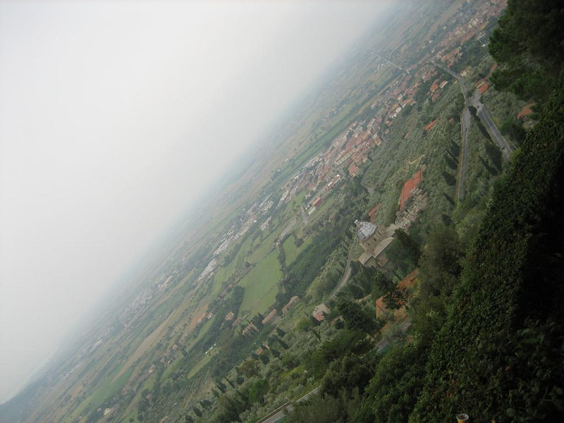 View from the city walls of Cortona. It was a very cloudy and rainy day, or you could see miles into Tuscany