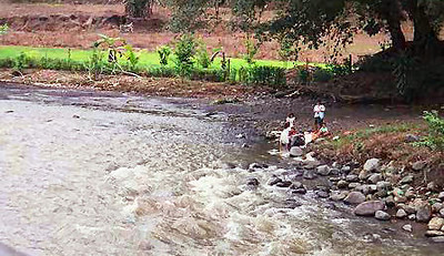 Sme locals do their washing in the river