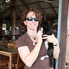 "Mel finds us a gato at our rest stop. <br /> <br /> On the ""road""  from Arenal to Monte Verde, Costa Rica, 2011. Crossing Lake Arenal and then 4x4's to Monte Verde Lodge."