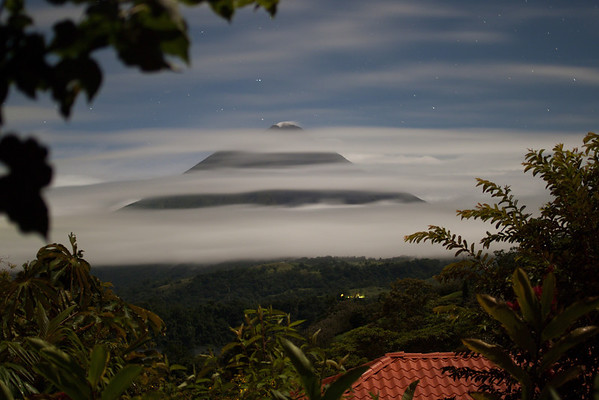 Arenal volcano at night