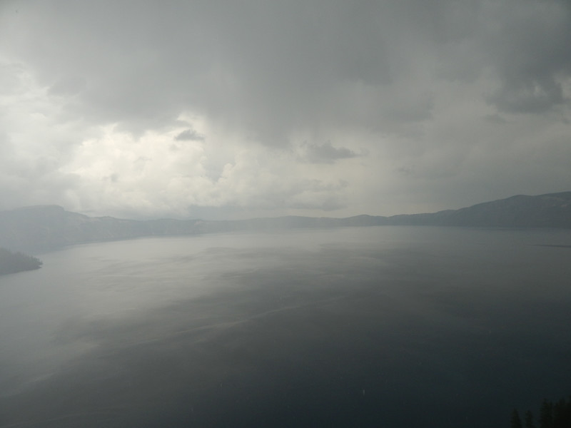 A view of most of the lake in the rain