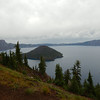 Our first view of Crater Lake and Wizard Island