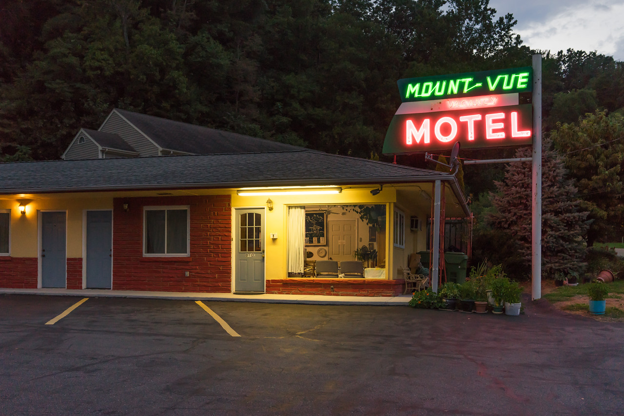 Mount-Vue Motel, Asheville.  It was moderately scary.
