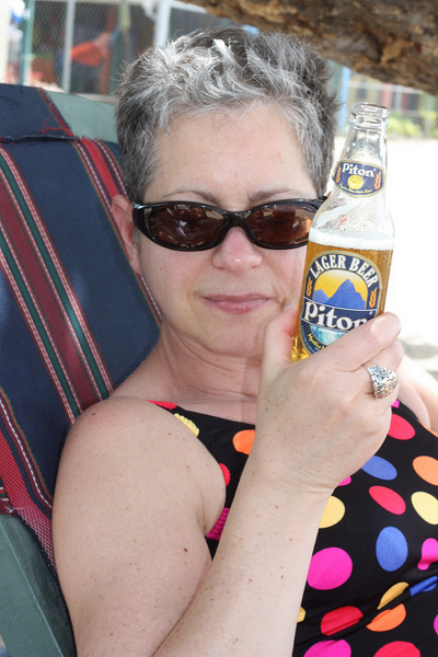After our tour, we relaxed on the beach with some of our favorite Caribbean beer.
