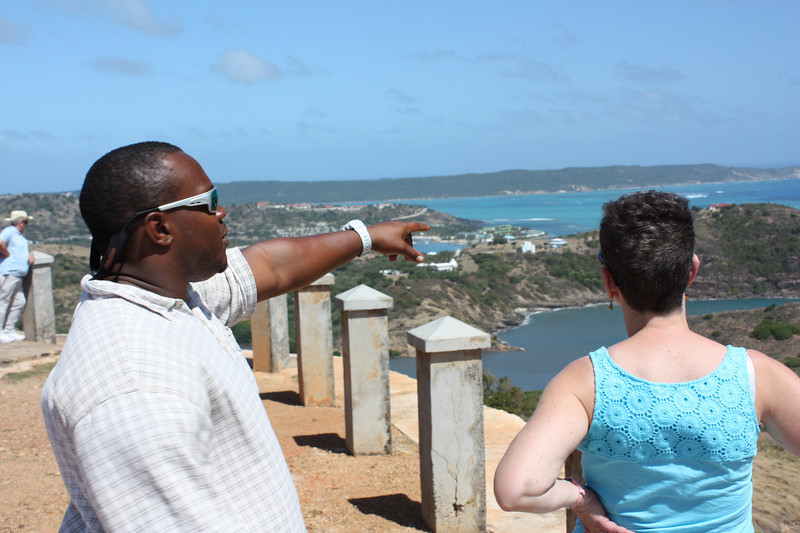 Our guide, Dexter, showing Lulu the sights from Shirley's Height.