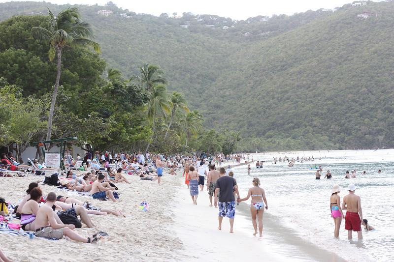 The scene on the beach.
