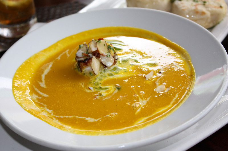 Pumpkin soup, with grilled garlic shrimp.