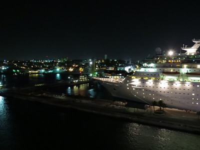 Monarch of the Seas and Nassau at night