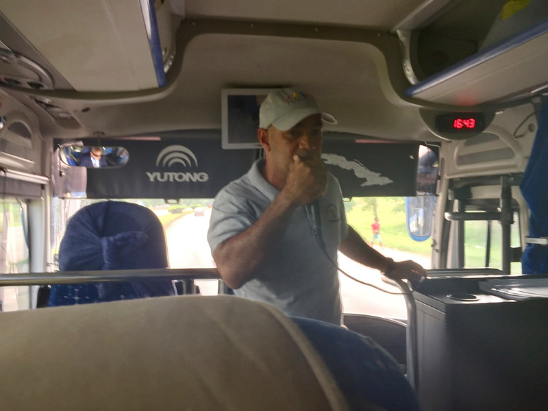 Ernesto Reyes [Birding Guide] on Bus with Introductions