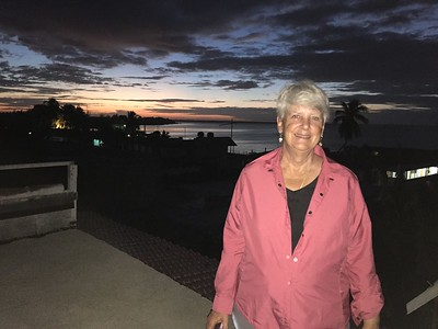 MaryAnne on Roof-top at Sunrise over Bahía de Cochinos [Bay of Pigs] @ Playa Larga