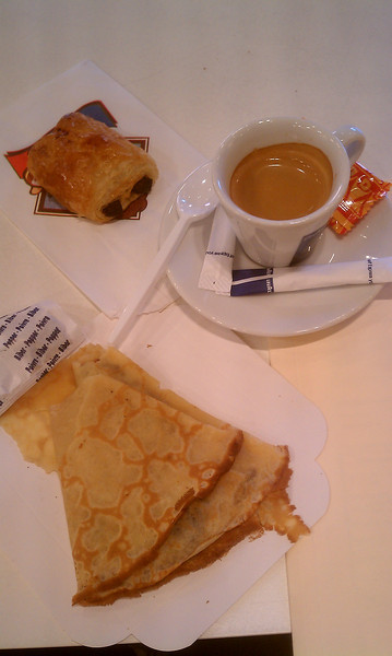 My first French breakfast - petit pain au chocolat, espresso, and Nutella crepe. It was to die for!