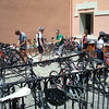 The bike work area. It took a while to get all 26 of us set up on our new Trek bikes.