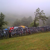 The weather was absolute shit. We rode in the torrential rain all the way to the viewing location. Only half the group rode that day, but it was soooo worth it! Here's the corral of 260 bikes parked and getting ready for the ride back down the mountain in the pouring rain!