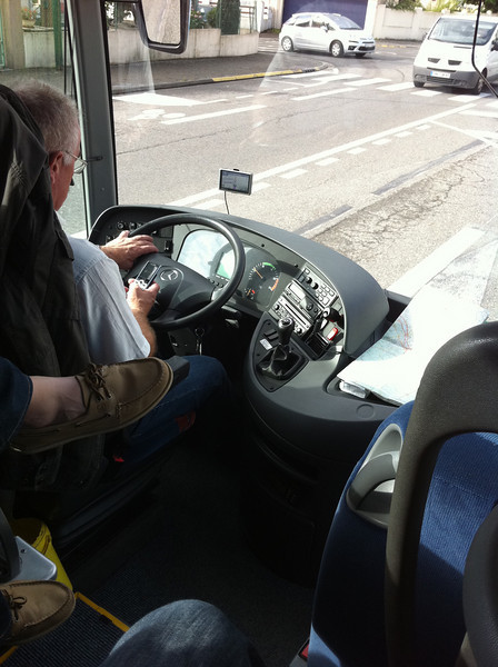 Our bus driver texting. Yes, they do that in Europe too.