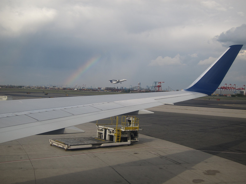 Rainbow at take off, Newark airport