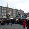 Wide view of Hauptmarkt Square with Schoner Brunnen (golden fountain) - 19m tall.