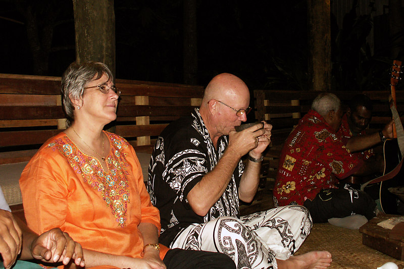 Owners of Lalati, Jayne and Clint, enjoying the kava ceremony.
