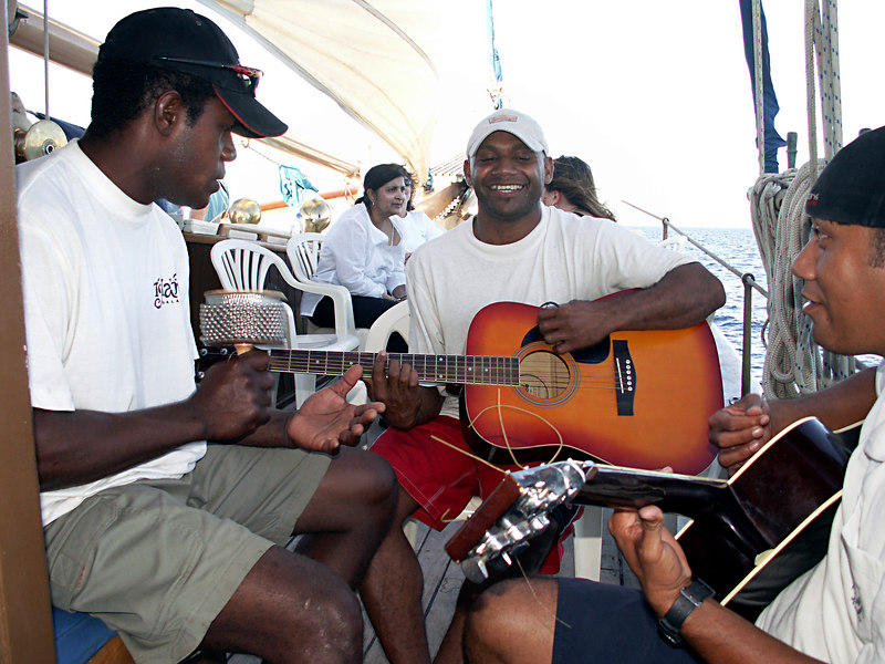 """Fijian deckhands on """"Whales Tale"""" singing on the ride back into port."""