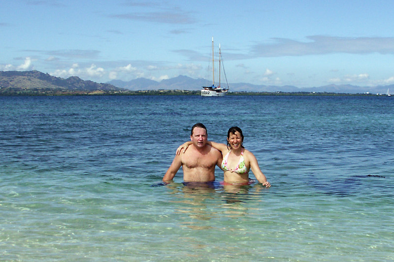 "Enjoying Snorkel Island on our first day in Fiji.  The schooner ""Whales Tale"" is in the background."
