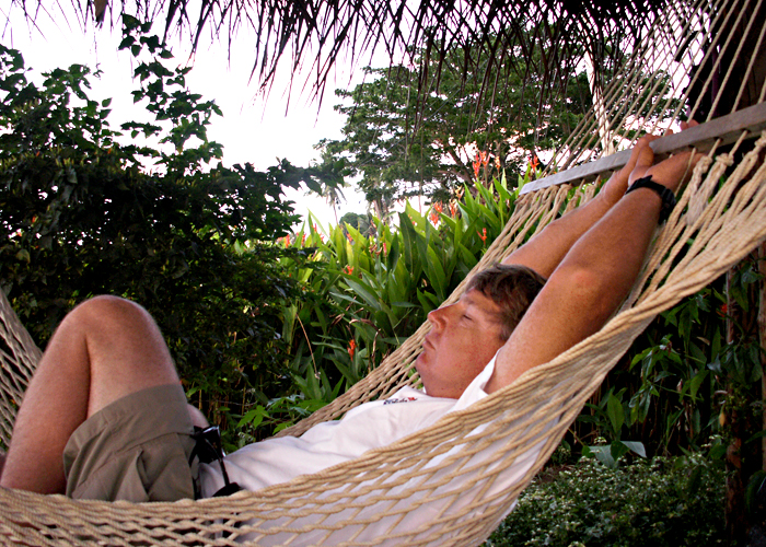 Dave wastes no time testing out the hammock bure at Makaira by the Sea, Taveuni.  He's finally getting this relaxing thing down!